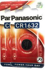 2 x Panasonic CR 1632 3V Lithium Batterie Knopfzelle 140mAh im Blister