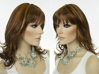 Long Mid Length Skin Part Bangs Straight Layered Blonde Brunette Red Wigs