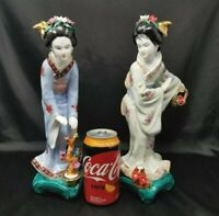 """VTG  Large Chinese Porcelain Bisque Hand Painted Geisha Pair Girls - 12"""""""