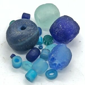 15+ Blue Ancient & Medieval Glass Beads Mixed Old Roman, Venetian, Byzantine