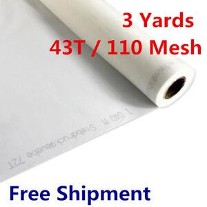 "3 Yards -White Silk Screen Printing Mesh Fabric 110 43T / 110 - 108"" L"