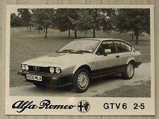 ALFA ROMEO GTV6 2.5 Car Black & White Press Photograph c1985