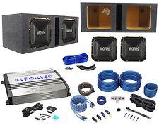 "2) Hifonics BRZ12SQD4 12"" 2400w Subwoofers+Vented Sub Box+Mono Amplifier+Amp Kit"