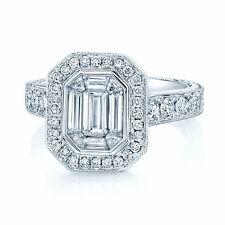 18K White Gold Emerald Cut Diamond Mosaic Ring Octagon Engagement Cocktail 1.58