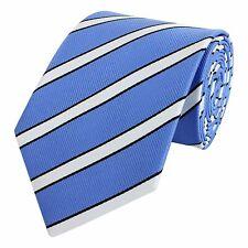 Hellblau strukturierte Designer Krawatte 8cm Fabio Farini schwarz weiß gestreift