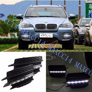 2x White LED Daytime Tube Day Fog Light DRL Run lamp For BMW X6 E71 2009-2012 11