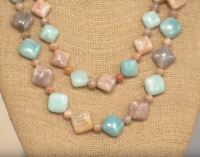 """JAY KING Sunstone & Amazonite Double Stranded 18"""" Sterling Silver Necklace NWT"""