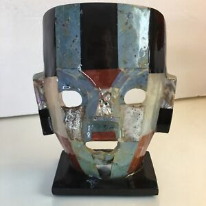 "Tribal Mask Vintage Mixed Stones Abalone Glazed Desk Decor  6"" Tall"