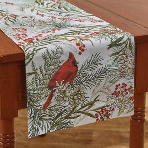 "Park Designs Cardinals, Berries, Pine 13""x 36"" Christmas Table Runner"