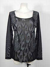 Angels Never Die black and grey tulle front print long sleeved blouse size M