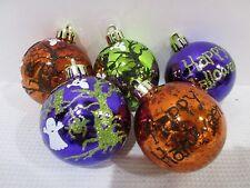 "Halloween Ghost HAPPY HALLOWEEN Plastic 2.5"" Ornaments Decorations Set of 5"