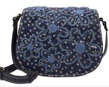 New Patricia Nash Denim daisies Daises Salerno Small Saddle Bag floral crossbody