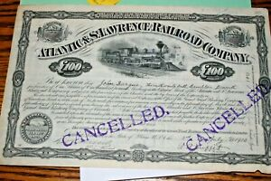 #S56,Vintage Stock Railroad-Atlantic & St.Lawrence Railroad w Coupons 1900,Maine