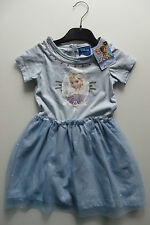 DISNEY Frozen KLEID 92,blau,Pailletten silber,Tuell Rock,Shirt m Eiskönigin Elsa