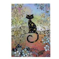 Bug Art Luxury Greetings Card Patterned Cat Beautiful Floral Gold Foil Embossed