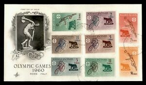DR WHO 1960 MALDIVE ISLANDS FDC OLYMPIC GAMES SPORTS CACHET COMBO  g12265