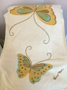 Vintage Hanae Mori Bath Towel Yellow Large Butterflies Made In USA 100% Cotton.