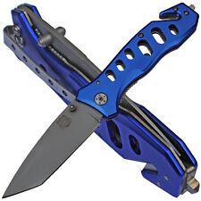 MP9 Blue Rescue Rettungsmesser Tanto Klinge Gutschneider Glasbrecher Gürtelclip
