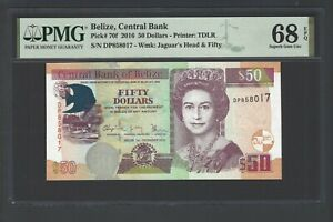 Belize 50 Dollar 1-12-2016 P70f Uncirculated Grade 68