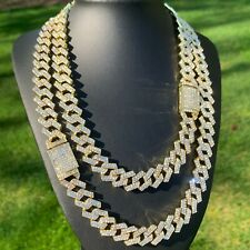 GOLD CUBAN LINK CHAIN ICED CHOKER NECKLACE 15mm STRAIGHT-EDGE