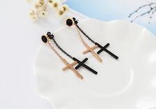 Women's 18K Rose Gold GF Double Cross Dangle Drop Stud Earrings Fashion Stunning
