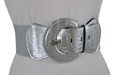 Sexy Women Wide Belt Silver Stretch Waistband Round Buckle Hip Waist Size M L XL