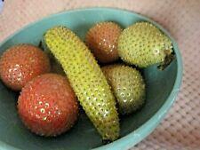 Vintage Handmade Push Pin Sequin Fruit Midcentury Oranges, Banana's, Pears-7 pc.