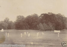 CRICKET MATCH ANTIQUE PHOTOGRAPH  TURN OF THE CENTURY  Players in White on Field