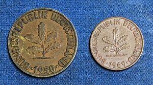 1950 German 10 Pfennig / 1969 German 1 Pfennig