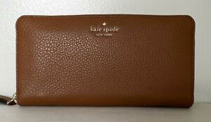 New Kate Spade Jackson Large Continental wallet Leather Warm Gingerbread