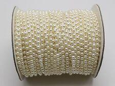 5 Meter Ivory Acrylic Flatback Pearl Bead 4mm Chain Garland Wedding Bouquet