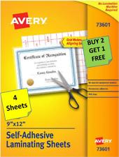 [4 Sheets] Avery 73601 Self-Adhesive Laminating Sheets 9 x 12 B2G1