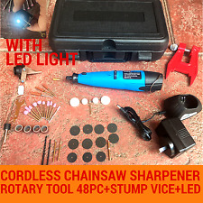CORDLESS CHAINSAW CHAIN GRINDER SHARPENER ROTARY TOOL 48PC& STUMP VISE BAUMR-AG