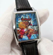 "SCROOGE McDUCK,Disney ""Bah Humbug"""" BIG MEN'S CHARACTER WATCH,Leather! M-8"
