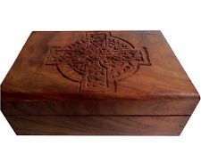 "Wooden Carved Wood Box-Trinket Box/Stash Box/Jewelry Box 4""x 6""- Celtic Cross"