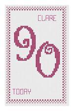 90TH ANNIVERSAIRE ROSE Kit de cartes de point de croix par florashell