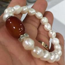 9-10mm white akoya culture pearl & 12x16mm red agate Elastic Bracelet
