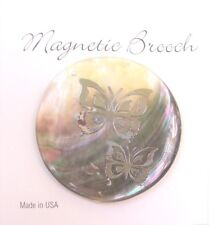 Magnetic Brooch Clasp Black Lip Shell Butterfly Design Accessory Scarves Shawl