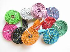 Flat Braid Fabric USB Sync Charger Cable Cord For iPhone 5 5S 5C 3ft 6ft 10ft DK