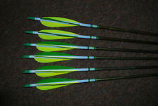 SIX HANDMADE EASTON 2018 ARROWS - DIPPED AND CRESTED - FEATHERS