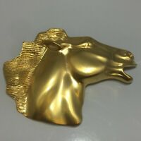 Vtg Stunning Satin Gold Tone Metal Horse Head Equine Figural Pin Back Brooch