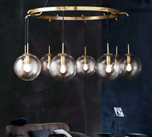 Industrial Clear Glass Ball Chandelier Gold Black Chrome Light Ceiling Lamp
