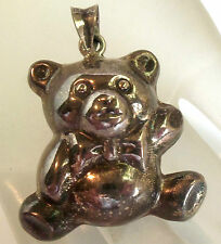 STERLING SILVER  925 BABY BEAR PENDANT For Necklace  ESTATE JEWELRY Vintage