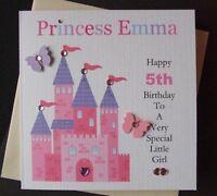Personalised Handmade Princess Birthday Card..1st...2nd 3rd Any Age Girls