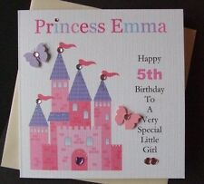 Personalised Handmade Princess Birthday Card..1st...2nd 3rd Any Age Girls