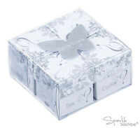 Table Trivia Set - 4 Boxes - Silver & White Wedding Icebreaker Table Decoration