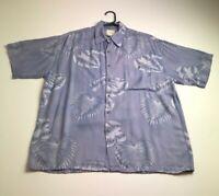 Saddlebred Men's Short Sleeve Button Up Hawaiian Camp Shirt Large L Floral Rayon