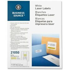 """Business Source Mailing Label Laser 1""""x2-5/8"""" 3000/PK White 21050"""
