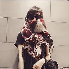 Womens Lady Winter Warm Tartan Check Neck Shawl Scarf Wrap Stole Plaid Pashmina Persian Red