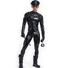 (J27) Men's Compression Tight Long Sleeve Black Spandex Fetish Athletic Apparel